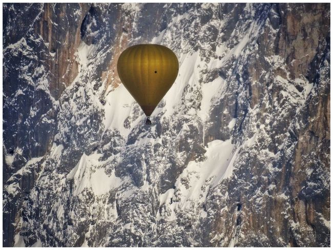 Beauty In Nature Day Hot Air Balloon Landscape Mid-air Mountain Nature No People Outdoors Scenics Snow Tranquility