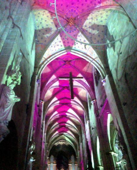 Marienkirche Reutlingen Kirchenschiff Colorful Lights Lights In The Dark Lightshow Medieval Architecture Architecture_collection Church Orgelkonzert