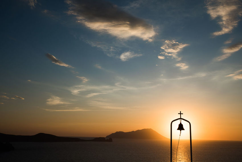View from the Elias Chapel in Milos Greek Islands Milos Island Beauty In Nature Cloud - Sky Day Horizon Over Water Nature No People Outdoors Scenics Sea Silhouette Sky Sunset Tranquil Scene Tranquility Water