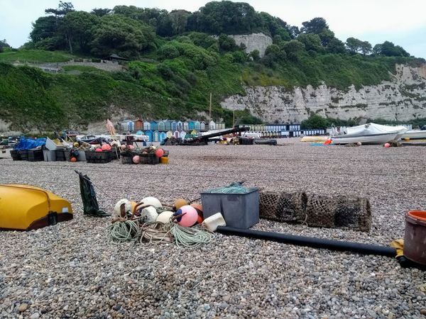 Lobster Pots Coast Deck Chair Beach Huts Tree Working Occupation Men Sky Boat Moored Nautical Vessel Sailing Boat Fishing Equipment