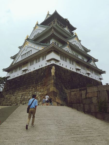 Osaka Castle, Osaka, Japan Travel Destinations History Architecture Ancient Outdoors Day Low Angle View Summer Grey Sky Osaka Castle Daily Life Adventure Japan Travel Osaka,Japan Architecture Samsung Galaxy S7 Japan Different Perspective Interesting Travel Japan Culture Angles Viewpoint