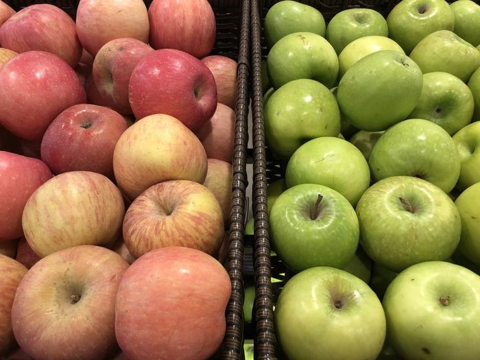 High Angle View Of Apples For Sale In Market