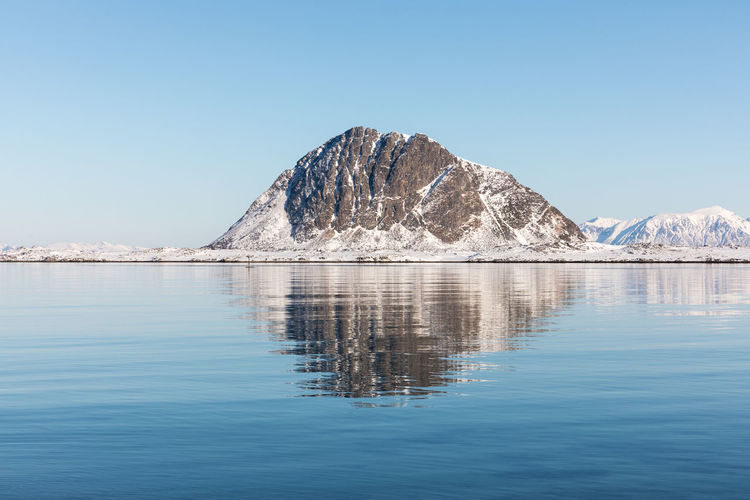 Beauty In Nature Blue Clear Sky Cold Temperature Day Fjord Landscape Lofoten Lofoten Islands Mountain Mountain Range Nature No People Norway Outdoors Reflection Scenics Sea Sky Snow Tranquil Scene Tranquility Water Waterfront Winter The Great Outdoors - 2017 EyeEm Awards Perspectives On Nature
