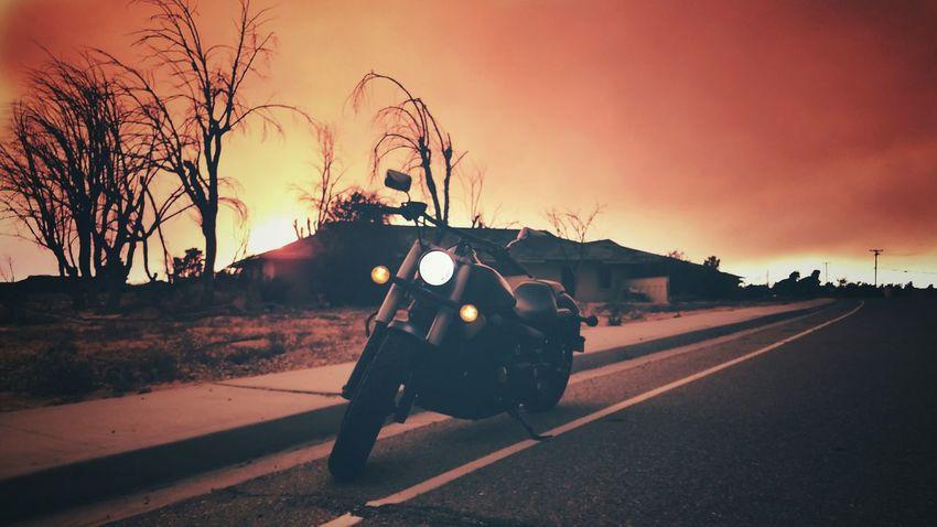 Honda Honda Motorcycle Honda Shadow Phantom Fire Skies Blue Cut Fire High Desert Abandoned Buildings