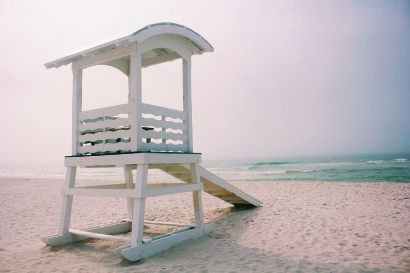 Lifeguard post Beach Sea Water Land Sky Horizon Over Water Sand Horizon Nature Tranquility Beauty In Nature Scenics - Nature Clear Sky