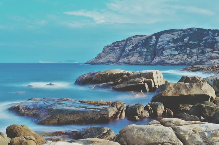 A mindful day Seascape #naturelover Seascape Photography Sea And Sky Seascape Long Exposure Rock - Object Beach Water Scenics No People Wave Day Landscape Horizon Over Water Tranquil Scene Tranquility Sea Pebble Beach