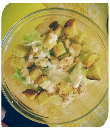 Caesar's Salad In My Mouf Eating Healthy Lunch Time! Homemade Cooking Time Salad