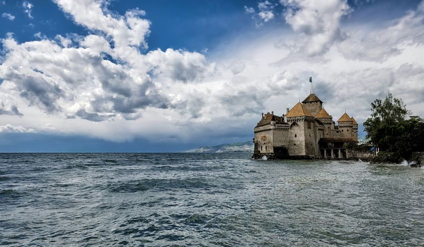 Vacationing with @camilliamakeup in Switzerland Chateaudechillon Lakegeneva  Clouds And Sky Cloudporn Vaud Castle Island Veytaux Photography