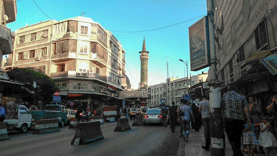 Aal Al Bait, Damascus. Arabic Architecture Building Exterior Built Structure City Damascus  Day Life Middle East Outdoors People People And Places People Watching Street Street Photography Streetphotography Syria  War