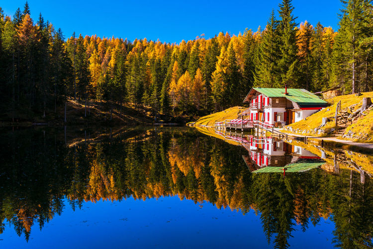 Lago d'Ajal Dolomites Autumn Beauty In Nature Built Structure Colorful Cottage Day Growth Hut Idyllic Italy Lake Landscape Nature No People Outdoors Plant Reflection Scenics - Nature Sky Tranquil Scene Tranquility Tree Water Waterfront