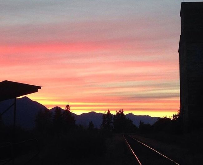 Beautiful sunset. Sunset Sky Built Structure Train Tracks Cloud - Sky Sunset Colors Beauty In Nature Beautiful Landscape The Way Forward EyeEmNewHere Mountain
