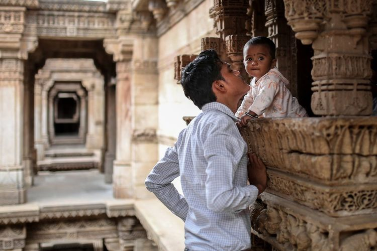 Affection Affectionate Father & Son Two People Architecture Women Females Adult Togetherness Emotion Building Exterior Built Structure Real People Casual Clothing People Young Adult Standing Positive Emotion