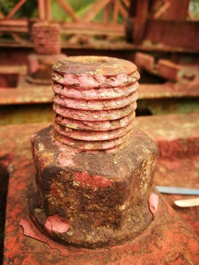 Focus On Foreground No People Outdoors Close-up Architecture Iron Bridge Nut - Fastener Nut Nuts And Bolts Rusty Iron Old Nut Iron Nut & Bolt Red