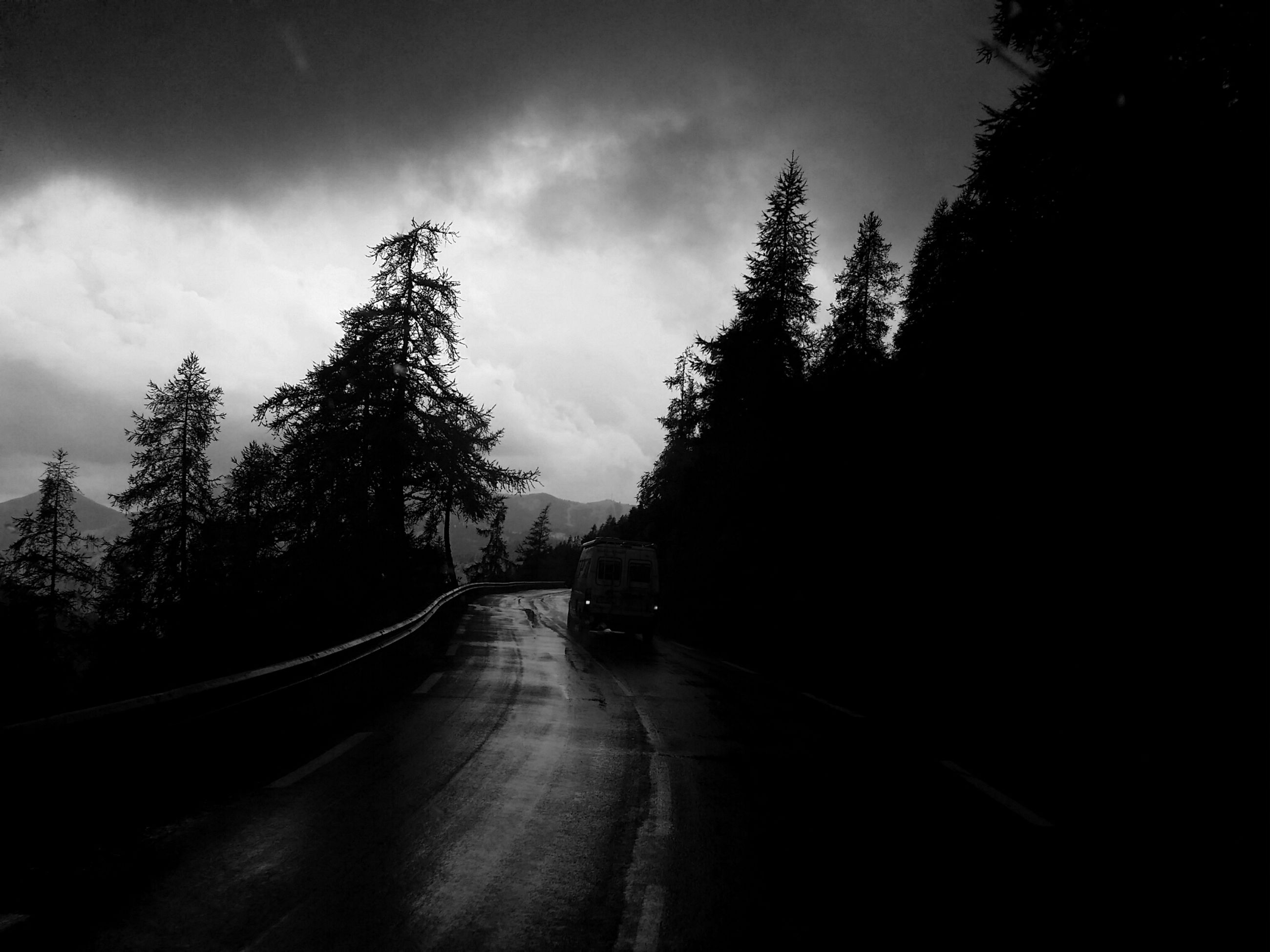 tree, silhouette, road, transportation, sky, the way forward, dark, diminishing perspective, cloud - sky, vanishing point, outdoors, day, cloudy, outline, long, solitude, country road, tranquil scene, black and white, no people, tranquility, footpath