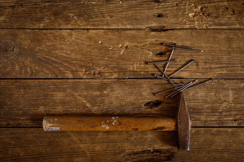 Antique Backgrounds Brown Carpentry Directly Above Full Frame Hammer Indoors  Man Made Man Made Object No People Old Plank Rough Rustic Still Life Textured  Weathered Wood Wood - Material Wood Grain