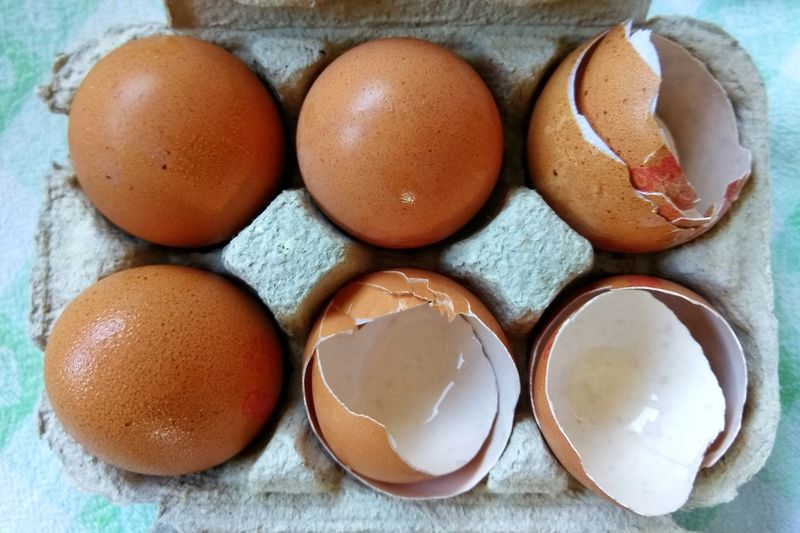 Cracked Easter Eggshell Directly Above Raw Food High Angle View Fragility Ingredient Egg Food And Drink Food Indoors  No People Easter Close-up Freshness Healthy Eating Day Ready-to-eat Egg Yolk Egg Carton Freshness Indoors  Easter Egg