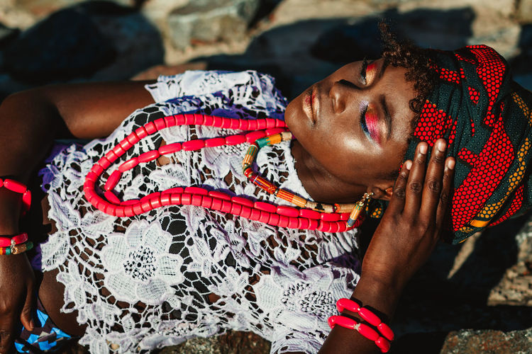 African Girl  Casual Clothing Close-up Dark Skin Day Ethnic Ethnic Beauty Ethnicwear Flowers Focus On Foreground Girl Leisure Activity Lifestyles Outdoors Outdoors Photograpghy  Portrait Red Scarf Young Women First Eyeem Photo Natural Light Portrait