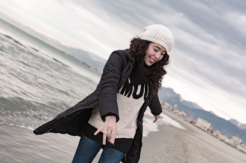 Sisters Adult Adults Only Adventure Beach Beautiful People Beautiful Woman Day Happy Italy Nature One Person One Woman Only Only Women Outdoors People Sand Scarf Sea Smiling Tourism Vacations Warm Clothing Winter Women Young Adult