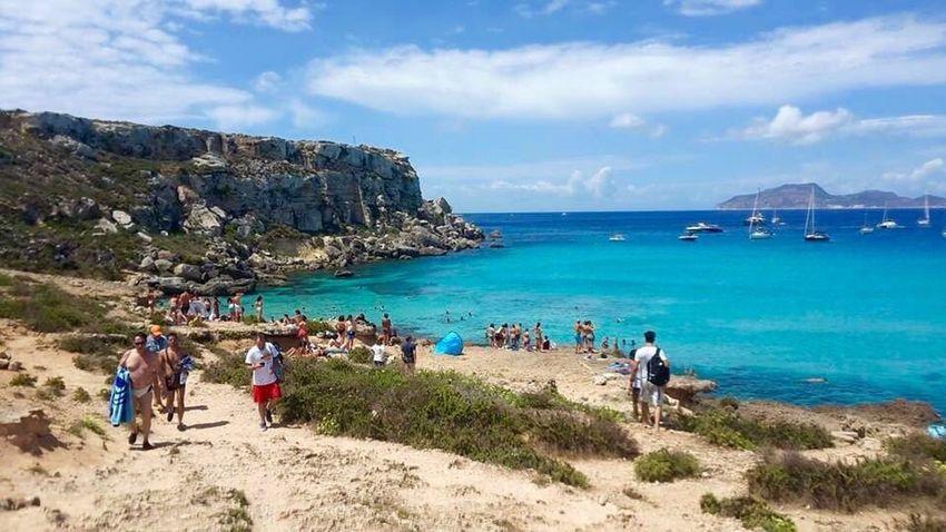 Sicily Sea Beach Vacations Travel Blue Travel Destinations Cloud - Sky Beauty In Nature Favignana's Sea Favignana Real Cartolina