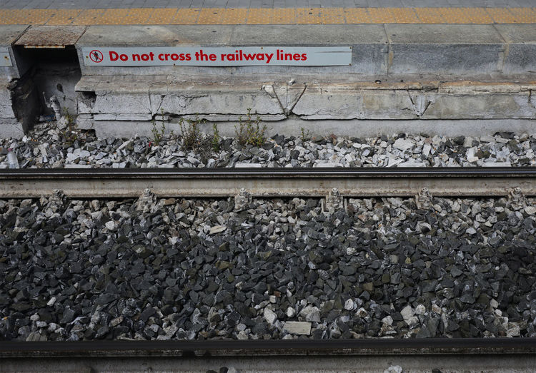 Text on railroad track