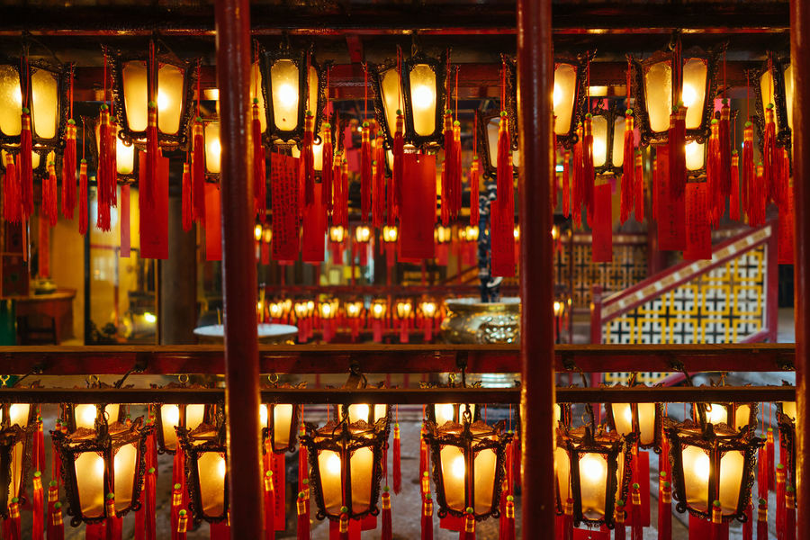 Lanterns parade in Man Mo Temple ASIA Chinese Cultures Faith Gold Colored Hanging Illuminated Indoors  Lantern Lanterns Large Group Of Objects Light Man Mo Temple No People Oriental Red Temple