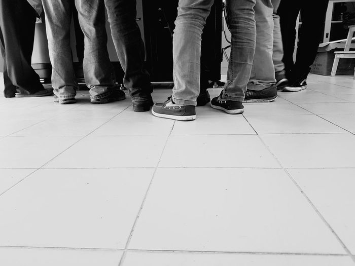 Low Section Human Body Part Human Leg Adult People Men Standing Shoe Group Of People Lifestyles Casual Clothing Black And White Friday