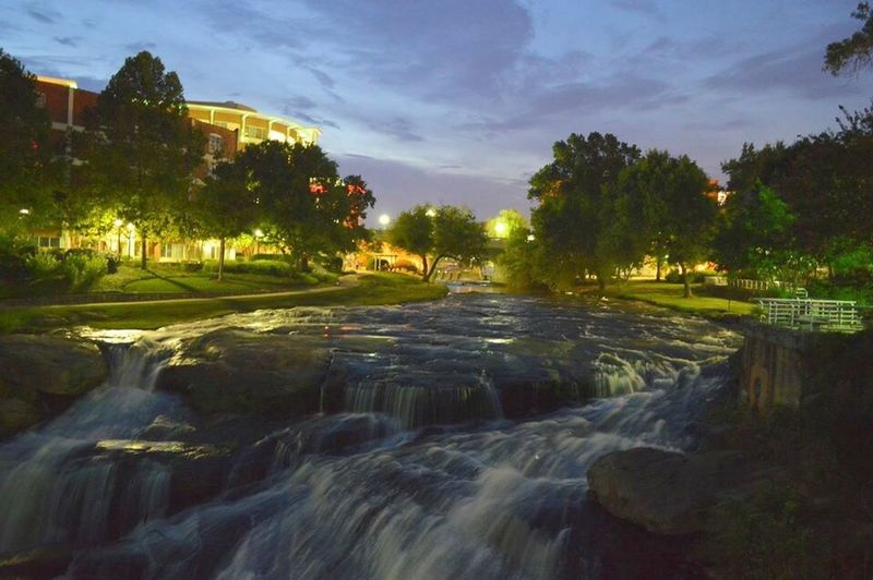 Waterfall Yeahthatgreenville GreenvilleSC Fallspark Reedyfallspark Reedyriver Long Exposure Dusk Tranquil Scene Flowing Water Tranquility Stream Beauty In Nature Southcarolinapictures Southcarolina MyPhotography Nikon D3200 Photowalk Portfolios Urbanpark Scenics Crownjewels Cityscapes Cityscape Cityspaces