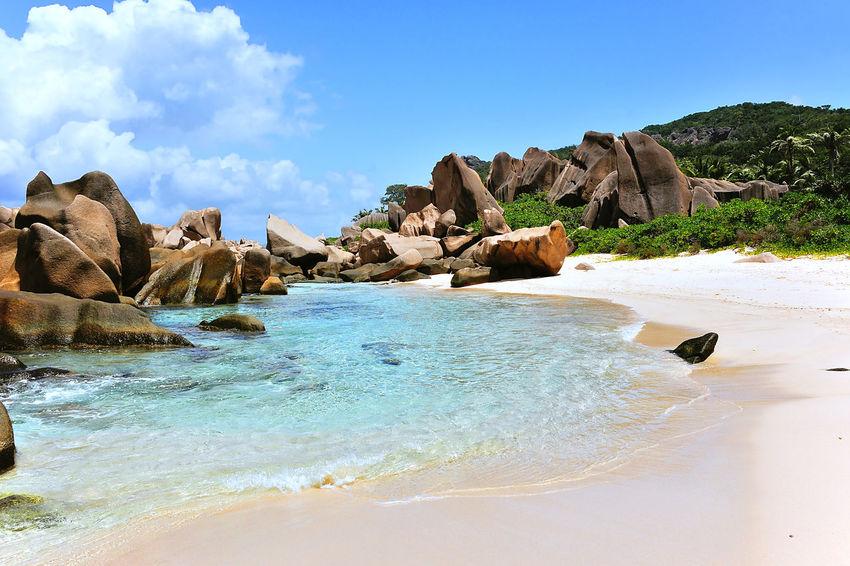 Anse Marron, Beach on Island La Digue, Seychelles
