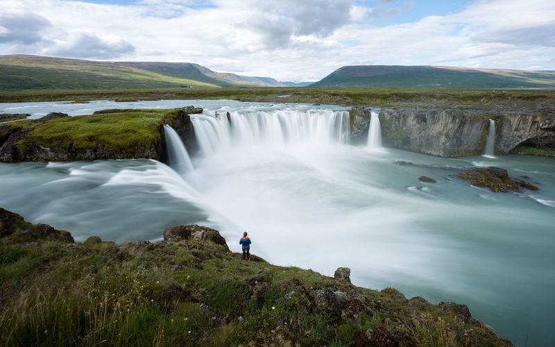Wonderful godafoss waterfall in iceland. waterfall of the gods