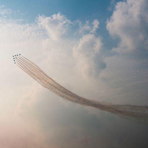 Sky Flying Airplane Air Vehicle Mid-air Airshow Fighter Plane Day Nature Low Angle View Mode Of Transport Cloud - Sky Transportation Outdoors No People Vapor Trail Beauty In Nature