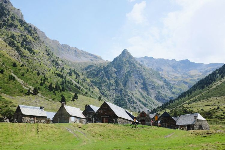 Mountains village Village Village View France Pyrenees Montagne Mountains Moudang Tree Sky Built Structure Building Exterior Farmhouse Valley