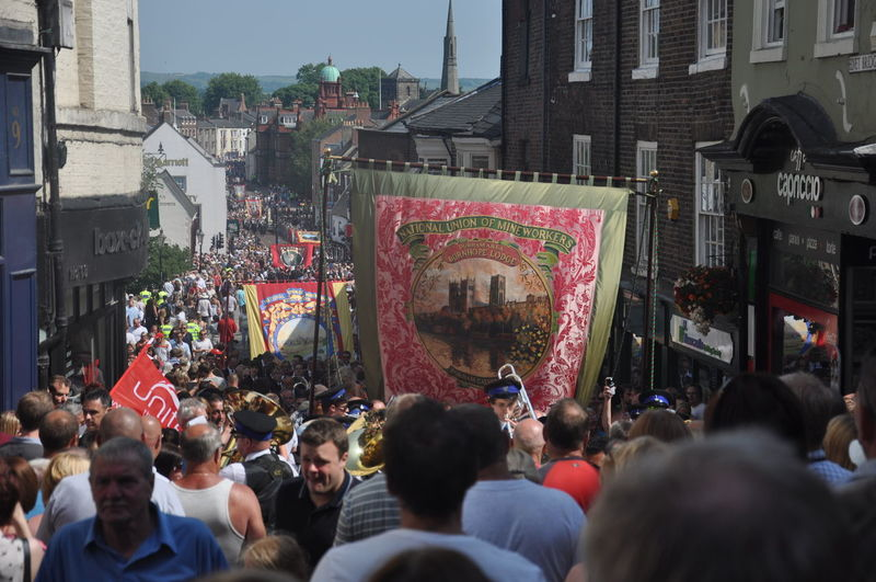 A selection of speakers at the 2013 Durham Miners Gala Banners County Durham Crowd Durham City Durham City Durham Cricket Durham Miners Gala Group Of People Labour Party Left Wing Miners Banners Morning Star Socialist Union