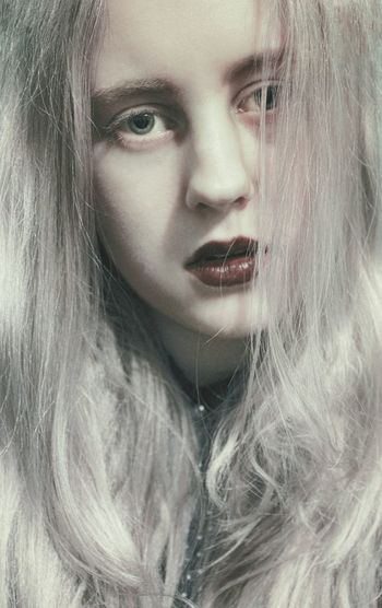 Self Portrait Portrait Monochromatic Girl Lips White Hair