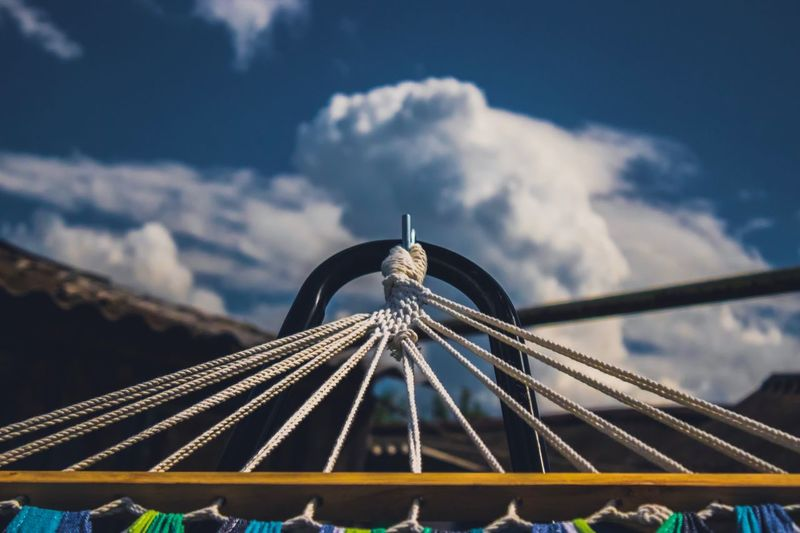Hammock Cloud - Sky Sky Amusement Park Ride Built Structure Amusement Park Architecture Arts Culture And Entertainment Nature No People Metal Ferris Wheel Rollercoaster Leisure Activity Travel Destinations Low Angle View High Section Outdoors Day Blue Carnival
