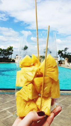 Pineapple🍍 Snack Time! Poolside Thailand Holiday Yellowandblue Blue Sky Red Nails First Eyeem Photo