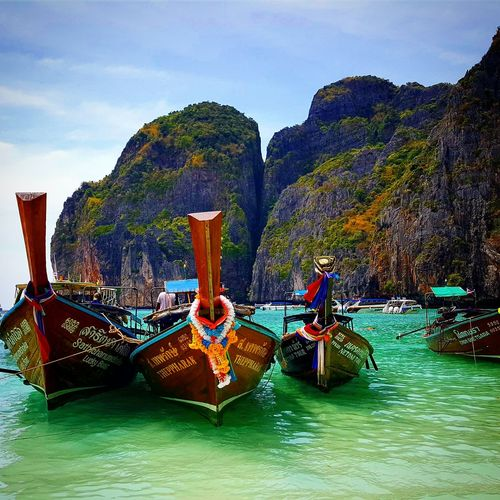 Maya Bay by longtail boat Tourismthailand Amazingthailand Thailand Thailandluxe Travelthailand Travelling Travel Mayabay PhiPhiLeh Phiphiisland Naturephotography Natureart Nature Tropical Tropicalparadise Thaiculture Nautical Vessel Tree Longtail Boat Scenics Tranquil Scene Calm Shore Tranquility Krabi