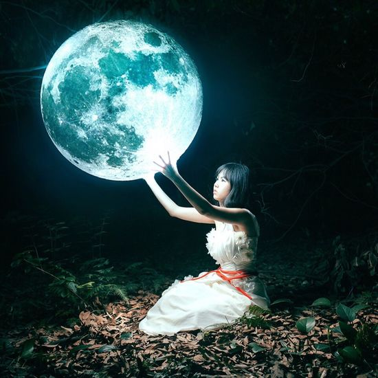 Girl Fantasy Surrealism Moon