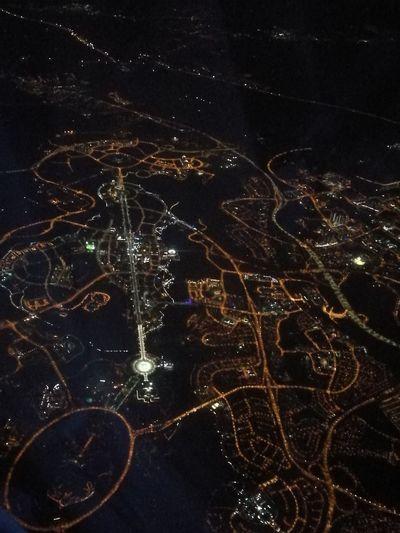 Satellite View Sky Night City Outdoors Ariel View Lights Night Lights