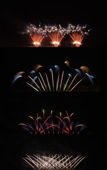 Firework display at night
