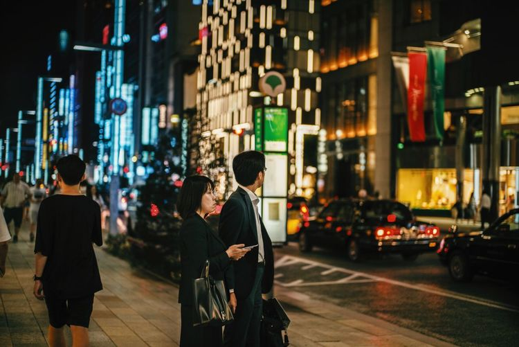 One night in Ginza Leica Japan Building Exterior Architecture Illuminated Walking Men Women Road City Street
