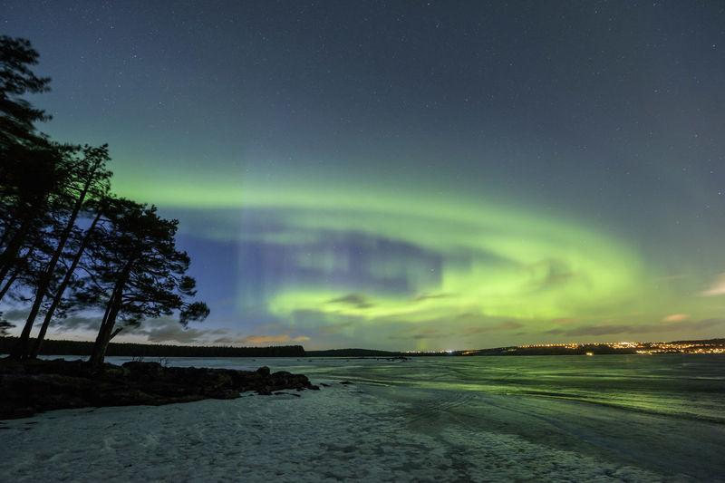 Dramatic sky at night in sweden