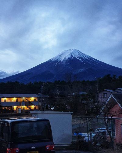 Fuji Mountain Fuji Mountain Area Kawaguchiko No People No People Day Morning Sky Cloud - Sky Cloud Mountain Snow Tree Sky Snowcapped Mountain Snow Covered Cold Temperature Winter Cold Deep Snow Covering Frozen Mountain Range Weather Parking Land Vehicle