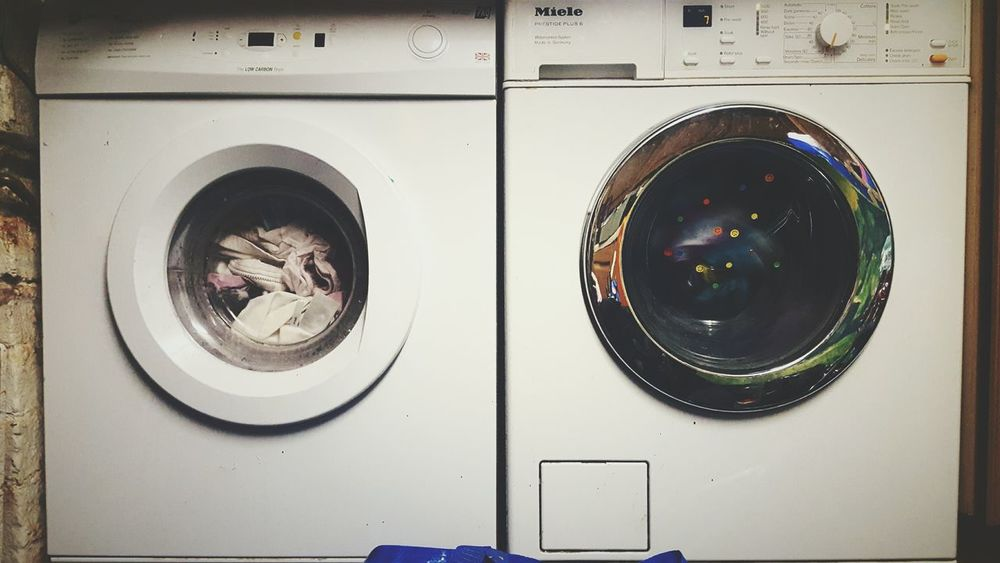Before Ten Washing Day Washing Machine Tumbledryer Circles Laundry Indoors  British Summertime
