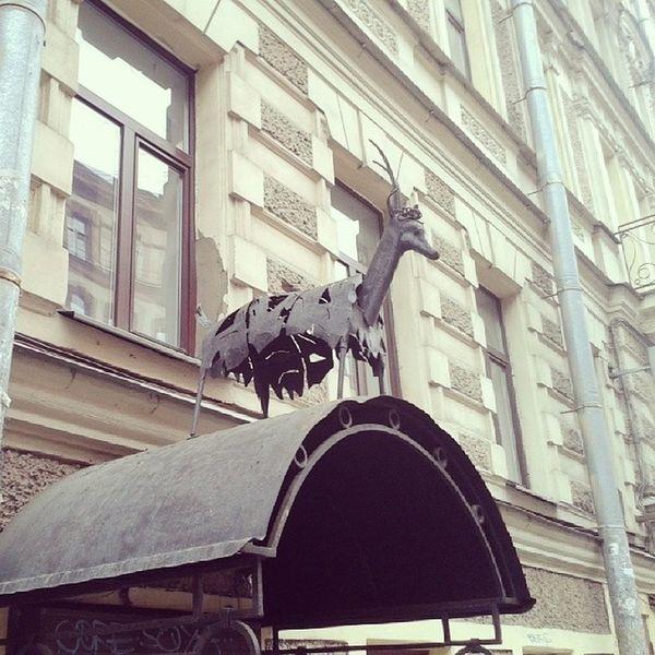 """Железная коза на крыше. Магазин """"Прялка"""" на Пушкинской улице пушкинская Питер металл Железо"""