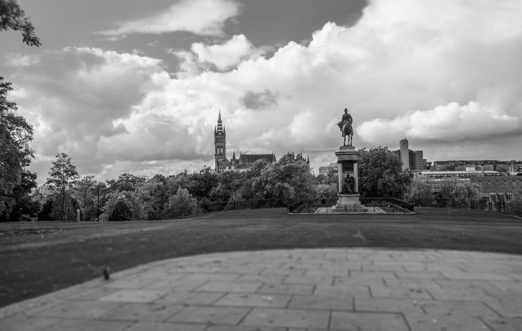 Glasgow  Glasgow University Kelvingrove Park Architecture Blackandwhite Building Exterior Built Structure Cloud - Sky Day History Monument Nature No People Outdoors Sculpture Sky Statue Travel Destinations Tree