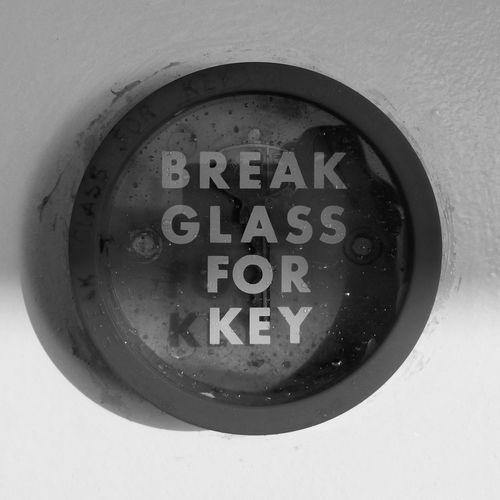 Break Glass for Key black and white photograph B&w Black And White Black And White Photography Circle Close-up Communication Day Indoors  No People Reflection Round Shadows Square Squared Circle Text Words Signs Fine Art Welcome To Black