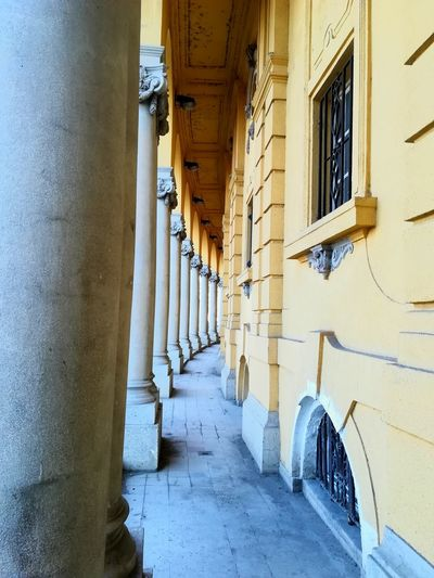 Building Outdoors Columns Yellow Bath Hungary Budapest Architecture Built Structure Corridor Architectural Column No People Day