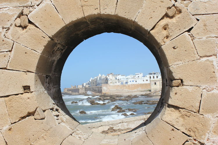 Africa Arch Architecture Beach Beautiful Blue Castle Day Essaouira Holiday Morroco Nature No People Outdoors Place To Be  Place To Visit Relaxing Sand Sea Sky Symmetry Travel Destinations View Wall Well