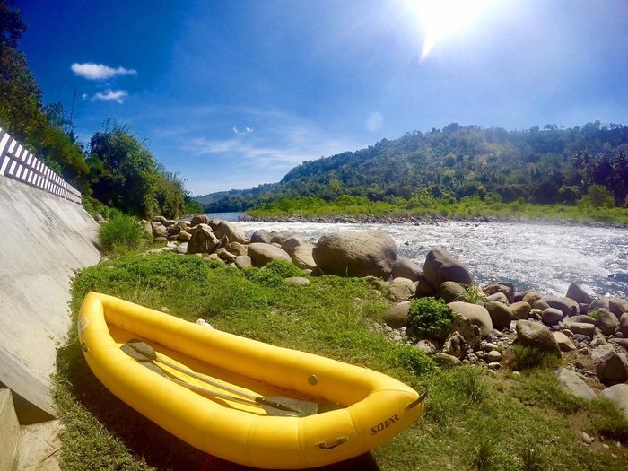Water Rafting Water Day Outdoors No People Sky Nature River Sunlight Tree Tranquility Tranquil Scene Cloud - Sky Beauty In Nature Grass Scenics Animal Themes Mammal Cagayan De Oro City Cagayan River