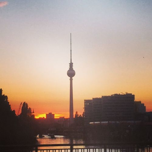 Sunset behind Berlin Skyline TV Tower Summer Summertime Europe Germany Skyline Berlin River Spree I Love Sunsets MyfirstEyemphoto Sommergefühle